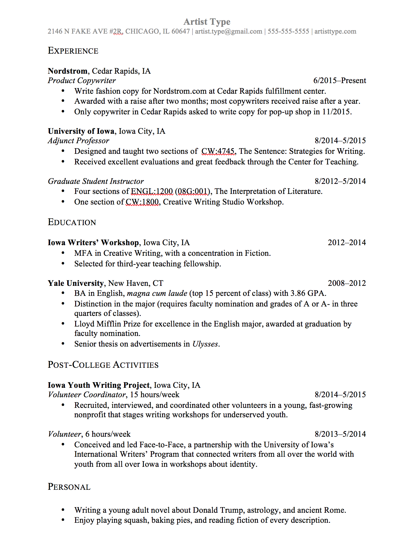 resume notes sample
